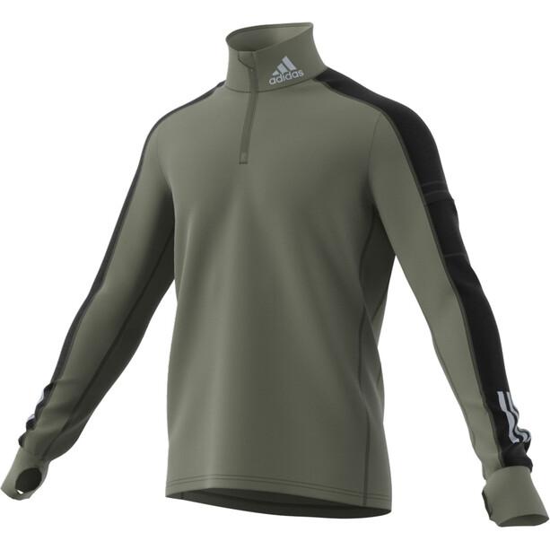adidas Warm Langarm 1/2 Zip Shirt Herren legacy green