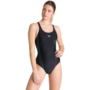 arena Evanescent V Back One Piece Badeanzug Damen black/freak rose black/freak rose