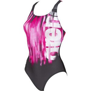 arena Drawing Swim Pro Back One Piece Badeanzug Damen black/freak rose black/freak rose