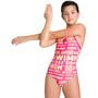 arena Neon Glitch Light Drop Back One Piece Badeanzug Mädchen freak rose/green multi