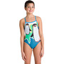 arena Crazy Penguins Lighttech Back One Piece Badeanzug Mädchen black/turquoise