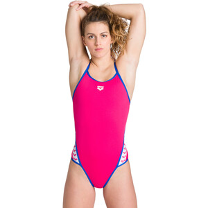 arena Team Stripe Super Fly Back One Piece Badeanzug Damen freak rose/royal freak rose/royal