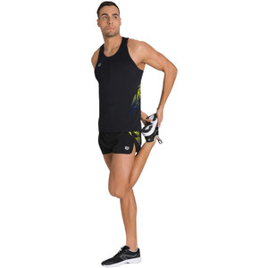 arena A-One Side Split Shorts Herren black/lime soda black/lime soda