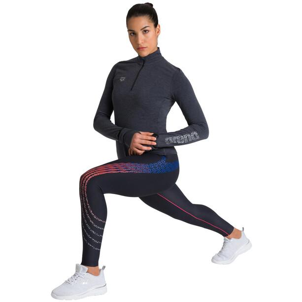 arena Thermal Half Zip Langarmshirt Damen black melange/fluo red