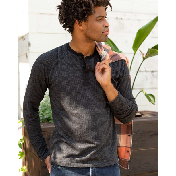 United By Blue Thermal Henley Top Men black