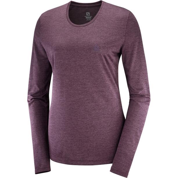 Salomon Agile Langarm T-Shirt Damen mauve win/wine tasting/heather