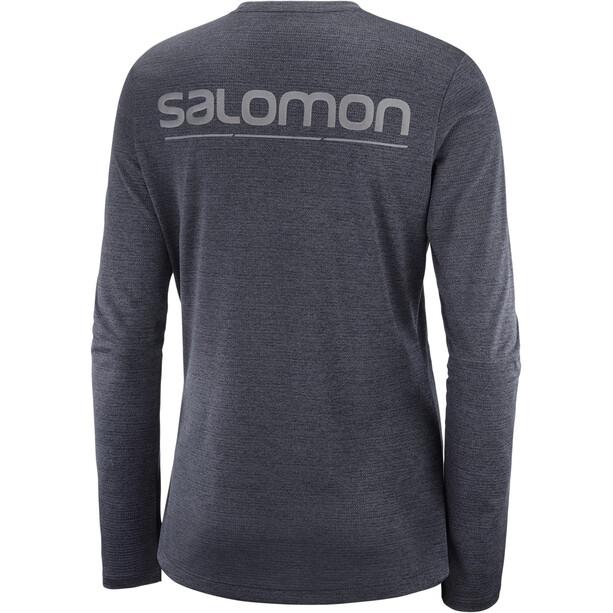 Salomon Agile Langarm T-Shirt Damen black/heather/reflectiv