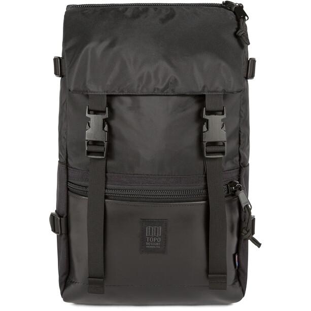 Topo Designs Rover Leather Rucksack ballistic black/black leather