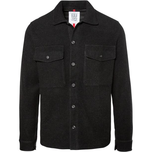 Topo Designs Wool Langarmhemd Herren schwarz