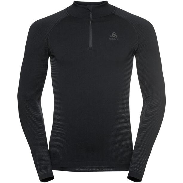Odlo Performance Warm Eco Rollkragen Langarm Half Zip Oberteil Herren black/new odlo graphite grey
