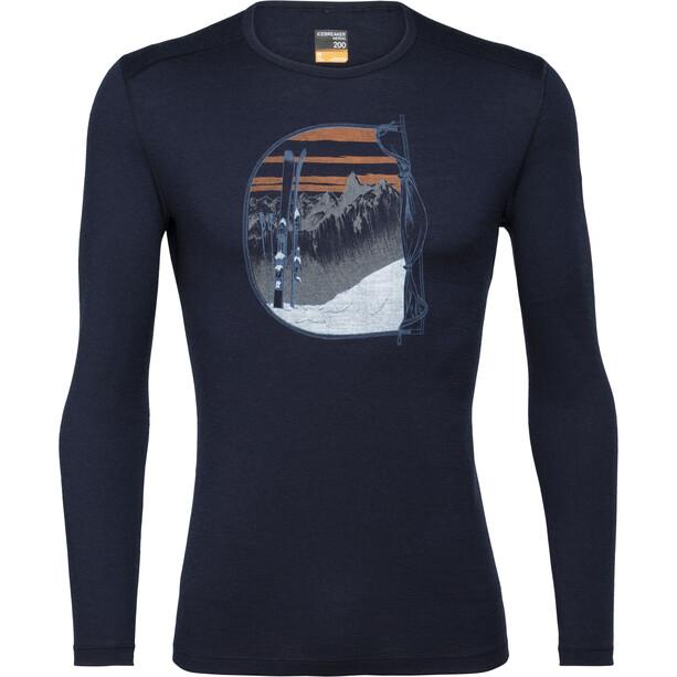 Icebreaker 200 Oasis Mt Blanc Rise Langarm Rundhalsoberteil Herren midnight navy