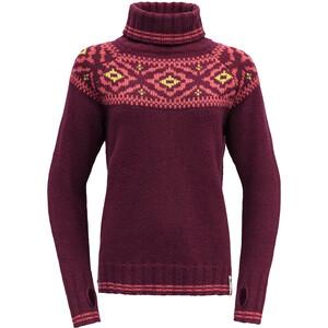 Devold Ona Round Sweat-Shirt Femme, rouge rouge