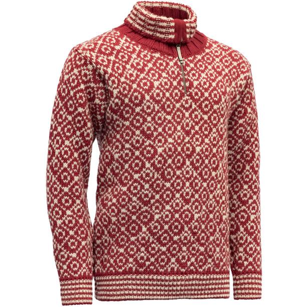 Devold Svalbard Zip Neck Sweater hindberry/offwhite