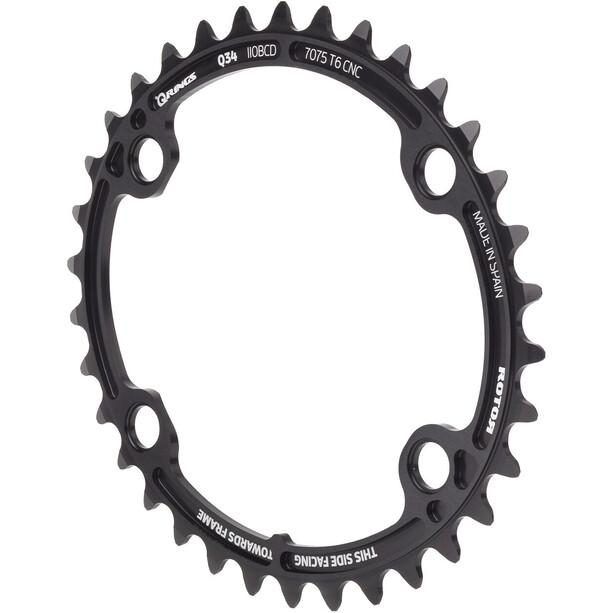 Rotor Oval Chainring for ALDHU/Shimano svart