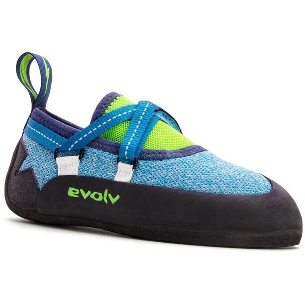 Evolv Venga Kletterschuhe Kinder blue/neon lime