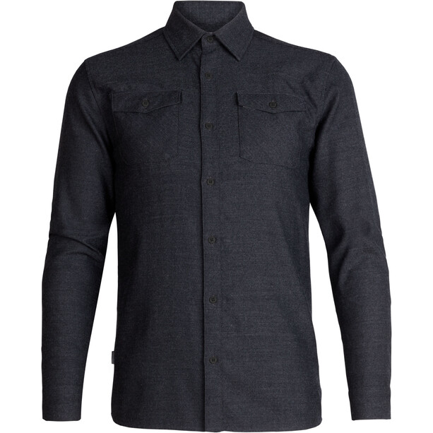 Icebreaker Lodge LS Flannel Shirt Men black heather