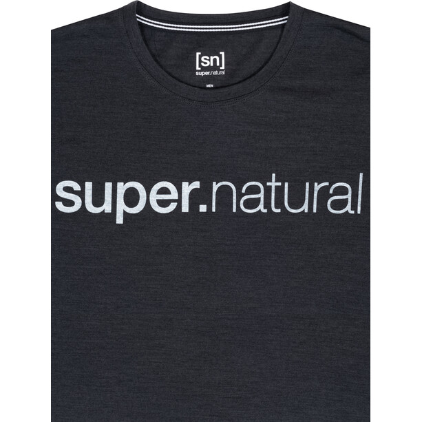 super.natural Signature SS Tee Men jet black melange/fresh white