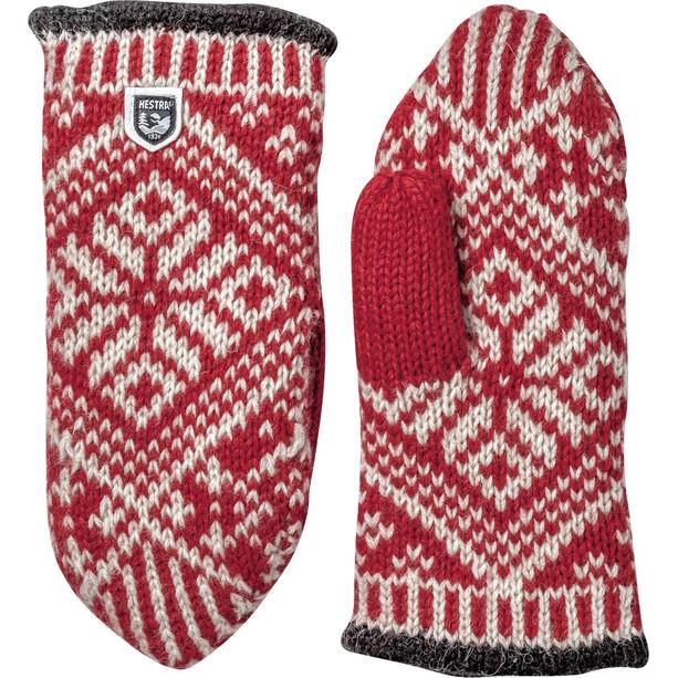 Hestra Nordic Wool Moufles, rouge/blanc