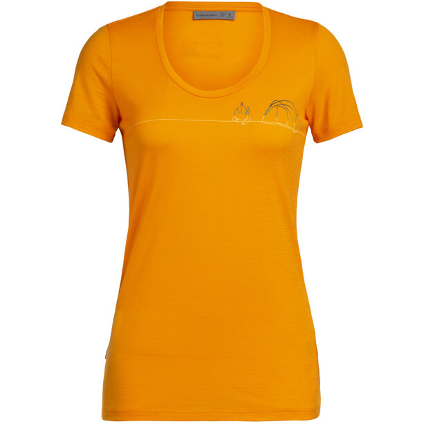 Icebreaker Tech Lite Single Line Camp SS Scoop Top Women, orange
