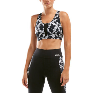 2XU Perform Medium Impact Crop Top Women textured check black/silver textured check black/silver