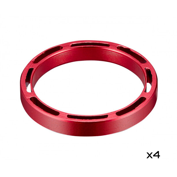 "Supacaz Hollow SupaSpacer Sett 4 stykker 5mm 1 1/8 "" rød"