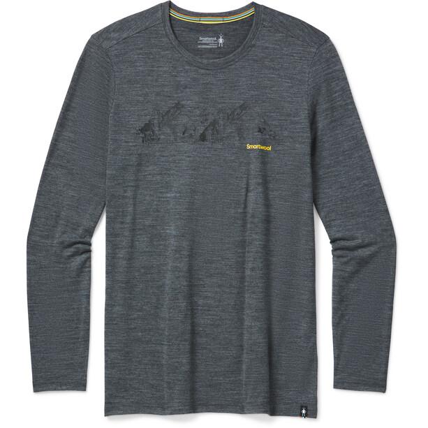Smartwool Merino Sport 150 Upper Slopes LS Graphic Tee Men medium gray heather