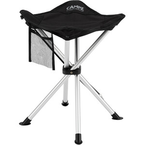 CAMPZ Aluminium 4 Legs Folding Stool, noir/gris noir/gris