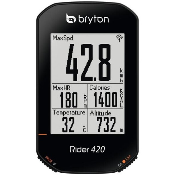 Bryton Rider 420 E Cykelcomputer, sort