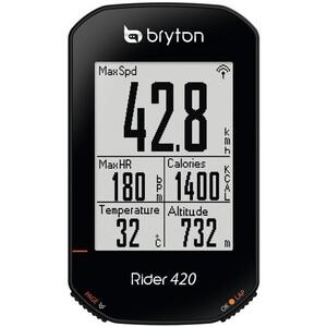 Bryton Rider 420 T Fahrradcomputer mit Geschwindigkeits-/Kadenzsensor/Herzfrequenzgurt schwarz schwarz