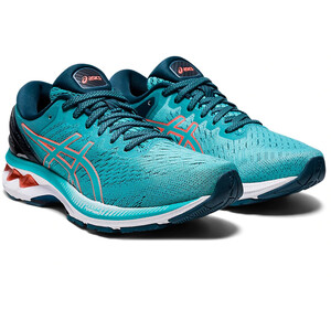 asics Gel-Kayano 27 Schuhe Damen techno cyan/sunrise red techno cyan/sunrise red