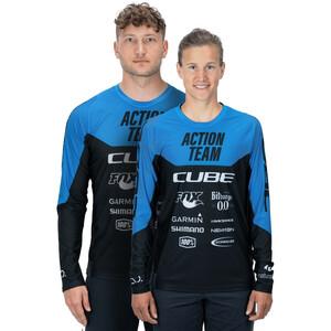 Cube Edge X Actionteam Rund hals Jersey Langærmet Herrer, blå/sort blå/sort