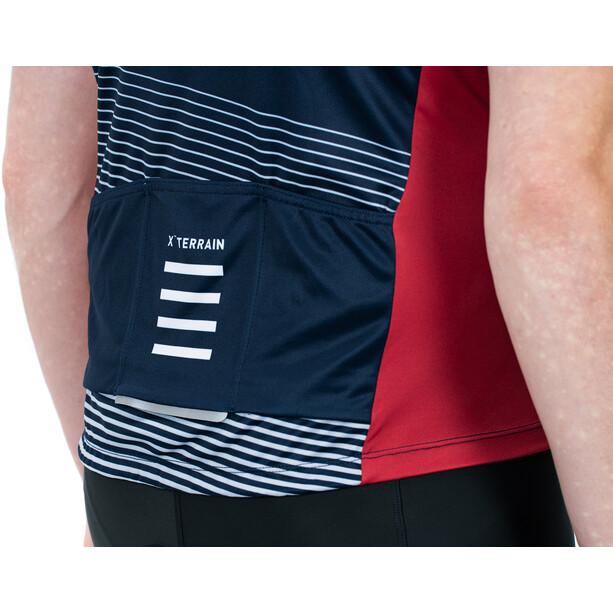 Cube ATX Full Zip Kurzarm Trikot Herren rot/blau