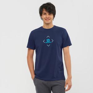 Salomon Baumwoll Kurzarm T-Shirt Herren night sky/tanager turquoise/hawaiia night sky/tanager turquoise/hawaiia