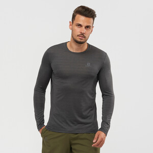 Salomon Outline Langarm T-Shirt Herren black/heather black/heather
