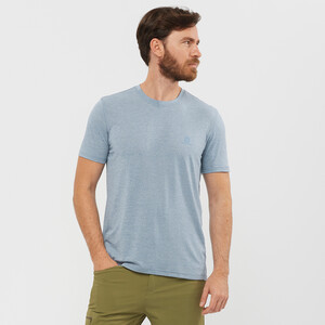 Salomon Explr Pique Kurzarm T-Shirt Herren ashley blue/heather ashley blue/heather
