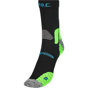 P.A.C. RN 6.0 Running Pro Mid Compression Socks Men, noir/vert noir/vert