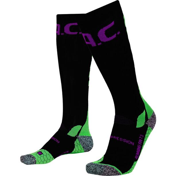 P.A.C. RN 7.1 Running Pro Compression Socks Men, musta/vihreä