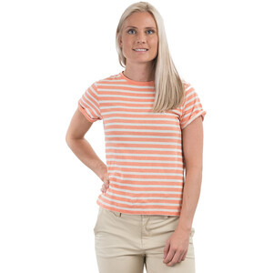 Bergans Oslo Re-Cotton Kurzarmshirt Damen vanilla white/cantaloupe striped vanilla white/cantaloupe striped