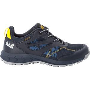 Jack Wolfskin Woodland Texapore Low Shoes Kids, dark blue/yellow dark blue/yellow