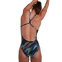 speedo Allover Digital Rippleback Badeanzug Damen sonic rain digi black/light adriatic