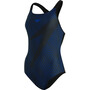 speedo Boom Logo Placement Racerback Swimsuit Women, boom logo black/blue flame