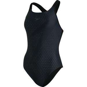 speedo Boom Logo Placement Racerback Badeanzug Damen schwarz schwarz