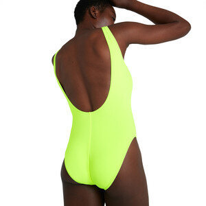 speedo Logo Deep U-Back Badeanzug Damen revlogo fluo yellow/black revlogo fluo yellow/black