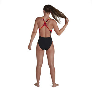 speedo Placement Digital Powerback Badeanzug Damen geo edged black/fed red geo edged black/fed red