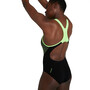 speedo Placement Laneback Badeanzug Damen black/zest green