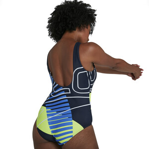 speedo Placement U-Back Badeanzug Damen revival navy/bondi blue/fuo yellow/white revival navy/bondi blue/fuo yellow/white