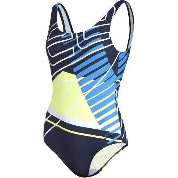 speedo Placement U-Back Badeanzug Damen revival navy/bondi blue/fuo yellow/white