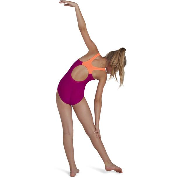 speedo Tech Placement Muscleback Badeanzug Mädchen diva/fluo tangerine