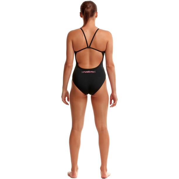 Funkita Single Strap Badeanzug Damen schwarz/pink