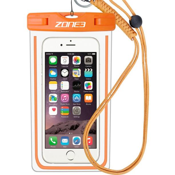 Zone3 Waterproof Phone Pouch, läpinäkyvä/oranssi
